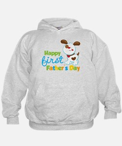 Puppy Dog Happy 1st Fathers Day Hoodie