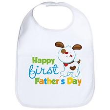 Puppy Dog Happy 1st Fathers Day Bib