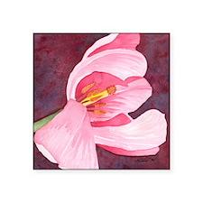 "Pink Tulip Square Sticker 3"" x 3"""