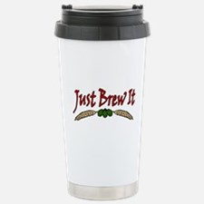 JustBrewIt-White Stainless Steel Travel Mug