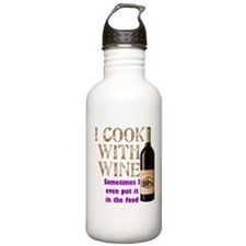ICookWithWine.PNG Sports Water Bottle