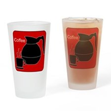 iCoffee Red Drinking Glass