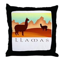 llamas mt. Throw Pillow
