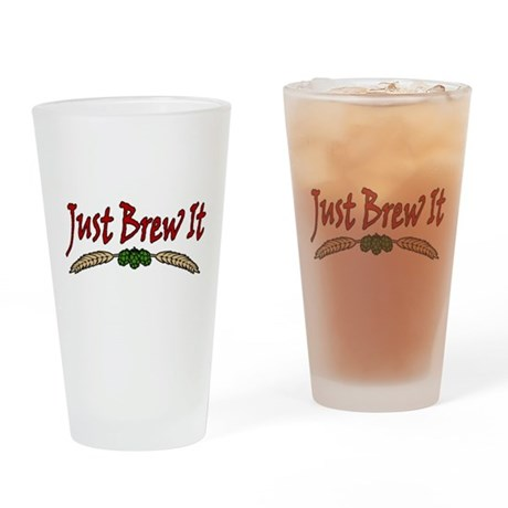 JustBrewIt-White Drinking Glass