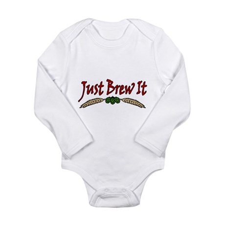 JustBrewIt-White Long Sleeve Infant Bodysuit