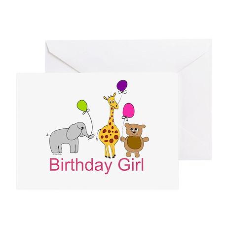 Birthday Girl Zoo Animals Greeting Card