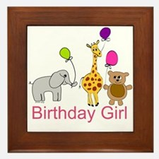 Birthday Girl Zoo Animals Framed Tile