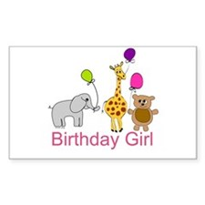 Birthday Girl Zoo Animals Decal