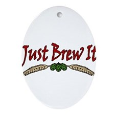 JustBrewIt-White Ornament (Oval)