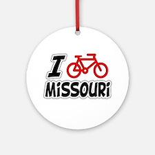 I Love Cycling Missouri Ornament (Round)