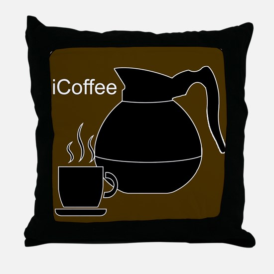 iCoffee Brown Throw Pillow