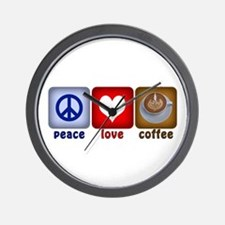 PeaceLoveCoffee-Sideways.PNG Wall Clock