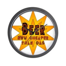 Beer, Now Cheaper than Gas Wall Clock