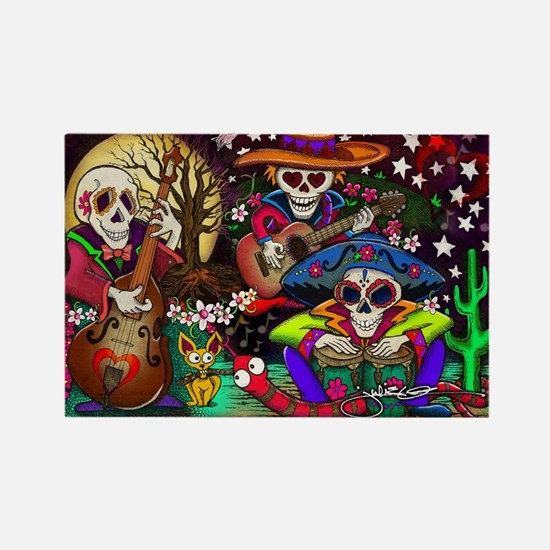 Day of the Dead Music art Rectangle magnet