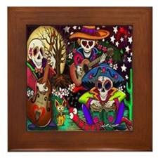 Day of the Dead Music art Framed Tile