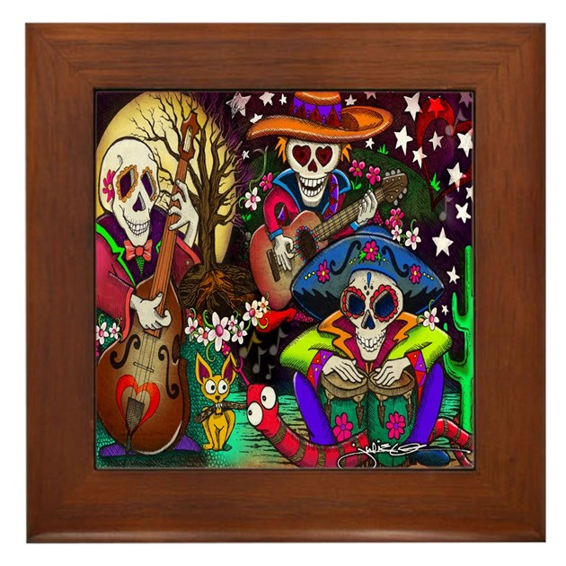 Day Of The Dead Bathroom Set: Day Of The Dead Music Art Framed Tile By Julieoakes