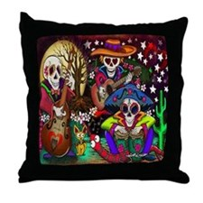 Day Of The Dead Music Art Throw Pillow