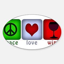 PeaceLoveWine.png Sticker (Oval)