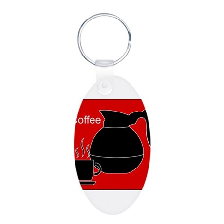 iCoffee Red Aluminum Oval Keychain