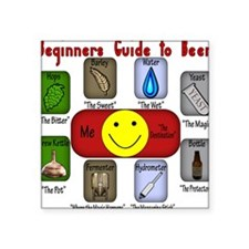 "BeginnersBeer.png Square Sticker 3"" x 3"""