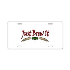 JustBrewIt-White Aluminum License Plate
