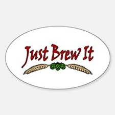 JustBrewIt-White Sticker (Oval)