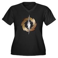 Thunder Wheel Women's Plus Size V-Neck Dark T-Shir