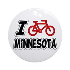 I Love Cycling Minnesota Ornament (Round)