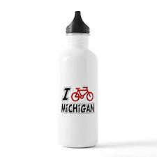 I Love Cycling Michigan Water Bottle