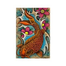 Koi Fish Art by Julie Oakes Rectangle Magnet