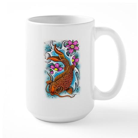 Koi fish art by julie oakes large mug for Koi fish gifts