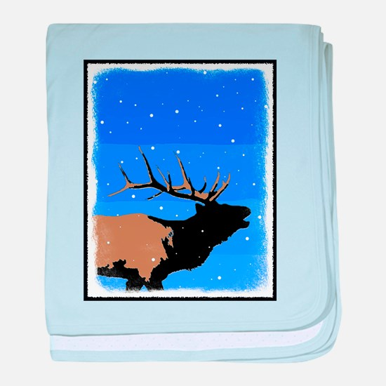 Winter Bugling Elk baby blanket