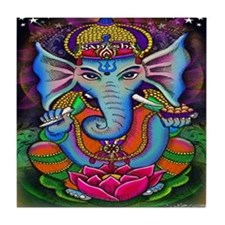 Ganesha Art by Julie Oakes Tile Coaster