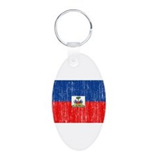 Haiti Flag Aluminum Oval Keychain