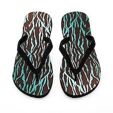 Aqua Blue and Brown Zebra Print Flip Flops