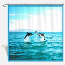3 Jumping Dolphins Square Baby Blue Border Shower