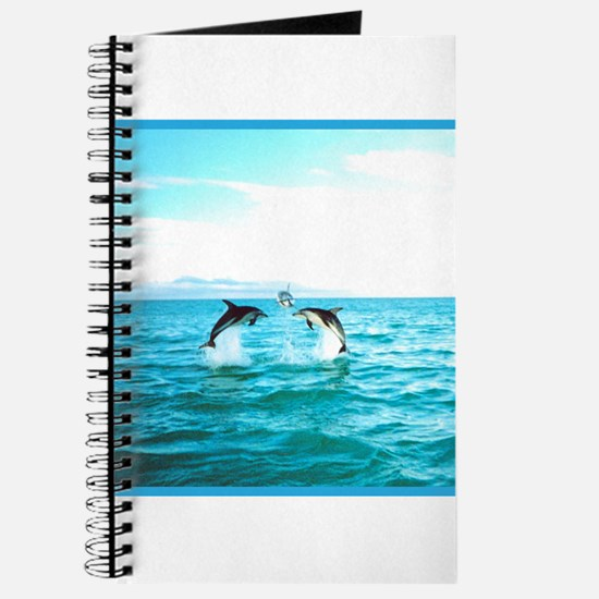 3 Jumping Dolphins Square Baby Blue Border Journal