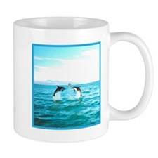 3 Jumping Dolphins Square Baby Blue Border Mug