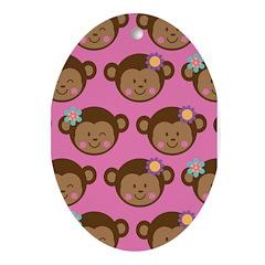 Monkey Girls Ornament (Oval)
