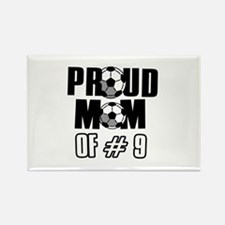 Proud soccer mom of number 9 Rectangle Magnet