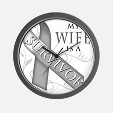 My Wife is a Survivor (grey).png Wall Clock