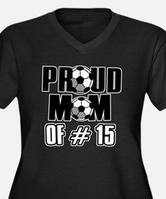 Proud soccer mom of number 15 Women's Plus Size V-