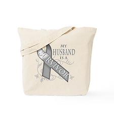 My Husband is a Survivor (grey).png Tote Bag