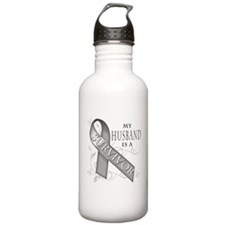 My Husband is a Survivor (grey).png Water Bottle