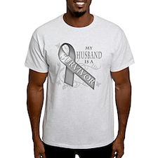 My Husband is a Survivor (grey).png T-Shirt