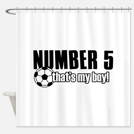 Proud soccer parent of number 5 Shower Curtain