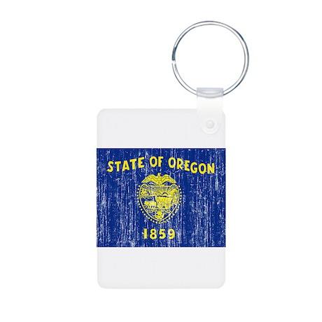 Oregon Flag Aluminum Photo Keychain