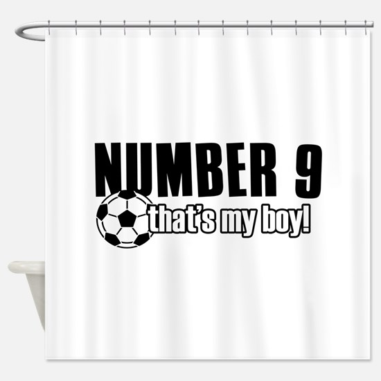 Proud soccer parent of number 9 Shower Curtain