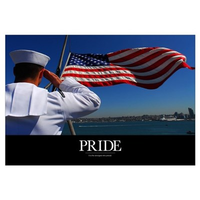 Military Poster: Pride, A sailor salutes the Ameri Canvas Art