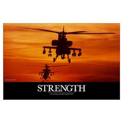 Military Poster: Four AH-64 Apache anti-armor heli Poster